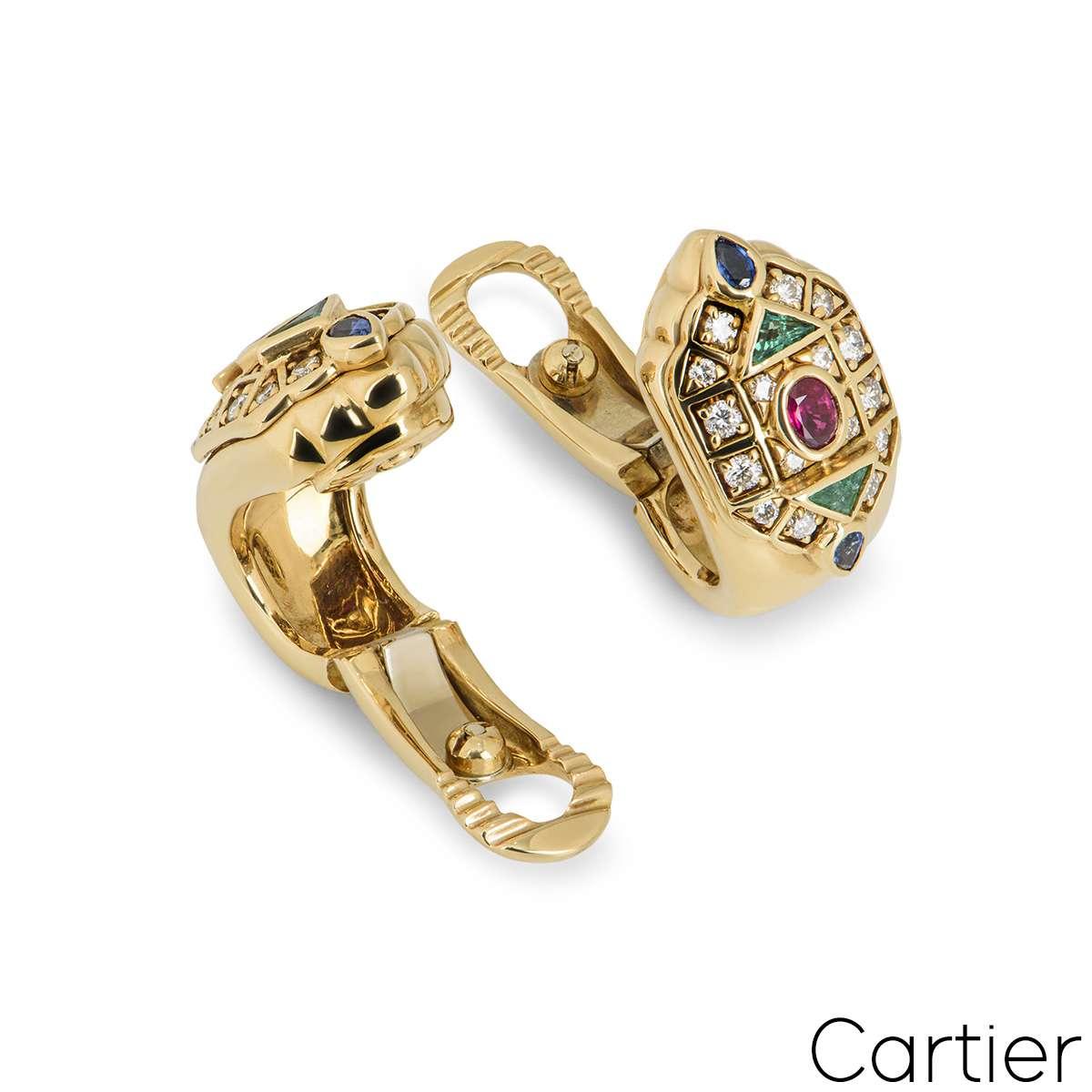 Cartier 18k Yellow Gold Multi Stone Byzantine Earrings